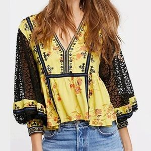 Free People | Printed Chartreuse Balloon Sleeve